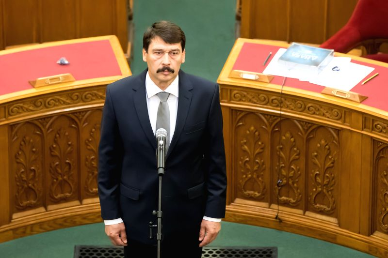 BUDAPEST, May 8, 2017 - Hungarian President Janos Ader takes oath for his second 5-year-long term in office in Hungarian Parliament, Budapest, Hungary on May 8, 2017. Hungary's parliament re-elected ...