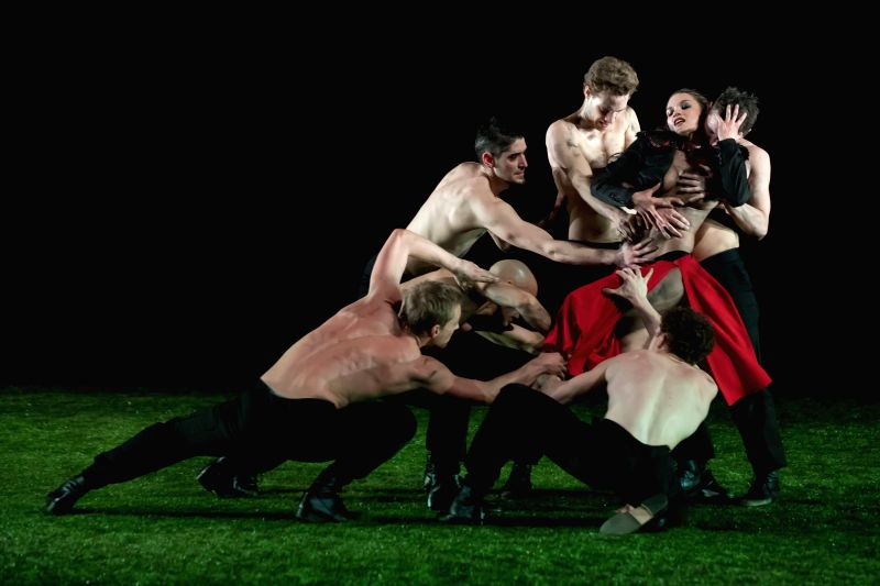 BUDAPEST, May 9, 2017 - Dancers of Szeged Contemporary Dance Company perform their new piece The Four Seasons choreographed by Tamas Juronics in Budapest, Hungary on May 8, 2017. (Xinhua/Attila ...