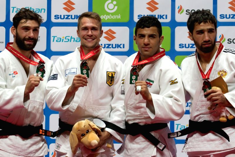 BUDAPEST, Sept. 1, 2017 - Gold medalist Alexander Wieczerzak (2nd L) of Germany, silver medalist Matteo Marconcini (1st L) of Italy, bronze medalists Saeid Mollaei (2nd R) of Iran and Khasan ...