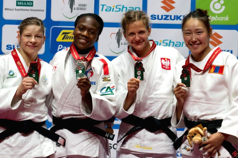BUDAPEST, Sept. 1, 2017 - Gold medalist Clarisse Agbegnenou (2nd L) of France, silver medalist Tina Trstenjak (1st L) of Slovenia, bronze medalists Agata Ozdoba (2nd R) of Poland and Mungunchimeg ...