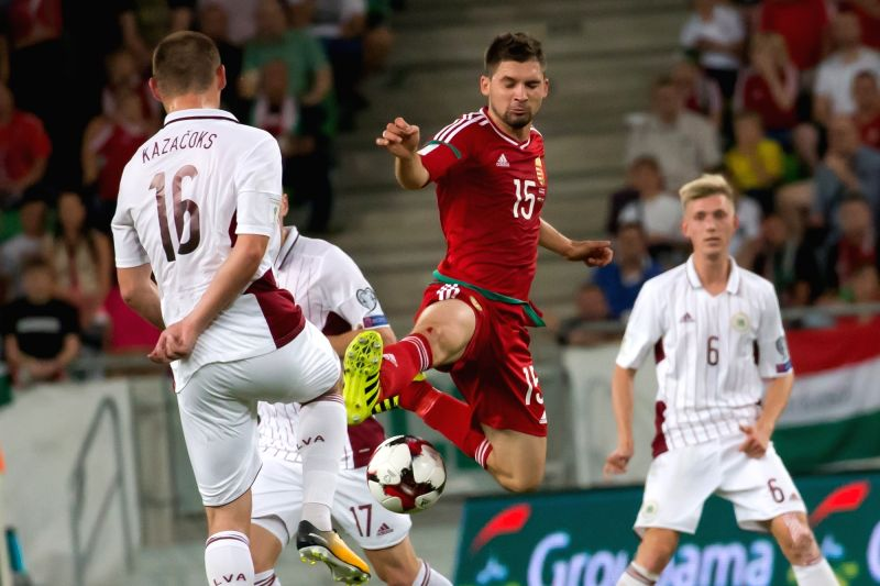 BUDAPEST, Sept. 1, 2017 - Hungary's Mate Patkai (C) competes during the 2018 FIFA World Cup qualifying match between Hungary and Latvia at the Groupama Arena stadium in Budapest, Hungary, on Aug. 31, ...