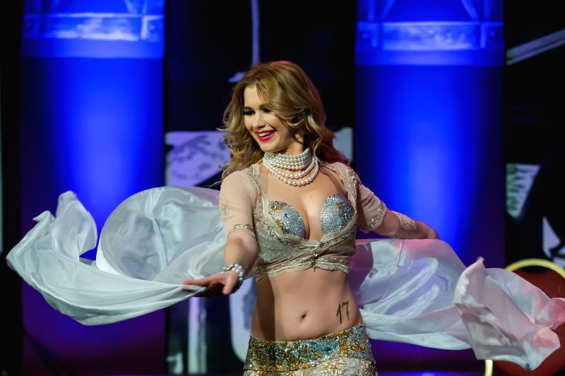 Winner Szilvia Vago performs during the Miss Bellydance Hungary 2014 competition in Budapest, Hungary, on Dec. 7, 2014.