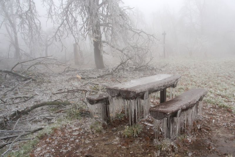 : Wooden table and benches are seen after heavy sleet in a forest in Budapest, Hungary, on Dec. 2, 2014.