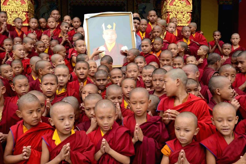 Buddha disciples celebrating 17th Karmapa Ogyen Trinley Dorjee 28th birthday at Tergar Monastary near Bodhgaya in Bihar