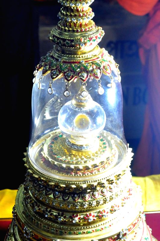 Buddha's Relic Casket on display  at Maha Bodhi Society of India on Buddha Purnima in Kolkata, on May 10, 2017.