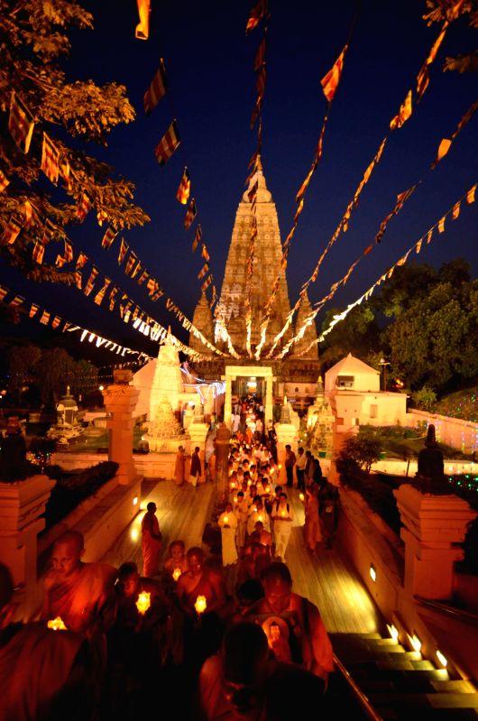 Buddhist monks and devotees from Thailand celebrate 2557th Buddha Jayanti at Mahabodhi Temple in Bodhgaya