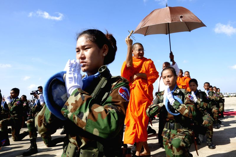 Buddhist monks bless Cambodian peacekeepers before they leave for Central African Republic in Phnom Penh, Cambodia, Nov. 2, 2015. Cambodia sent the second batch ...