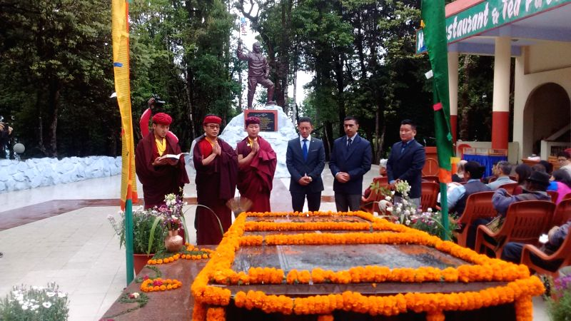 Buddhist monks celebrate birth anniversary of Tenzing Norgay, one of the first two men to scale the summit of Mount Everest in Darjeeling on May 29, 2016. Also seen Tenzing's son Jamling ...