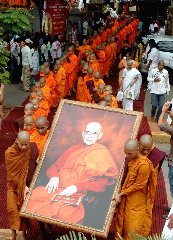 Buddhist monks during a programme in Bangalore on Aug 10, 2014.
