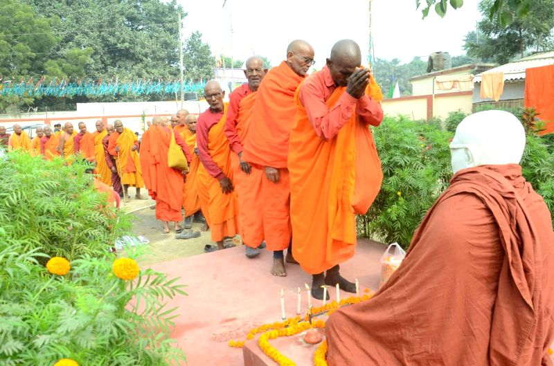 "Buddhist monks participate in ""Buddh Sammelan"" in Gaya on Dec 6, 2015."
