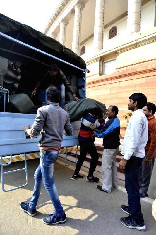 Budget papers arrive at Parliament ahead of the presentation of Union Budget 2018-19 at Parliament on Feb 1, 2018.