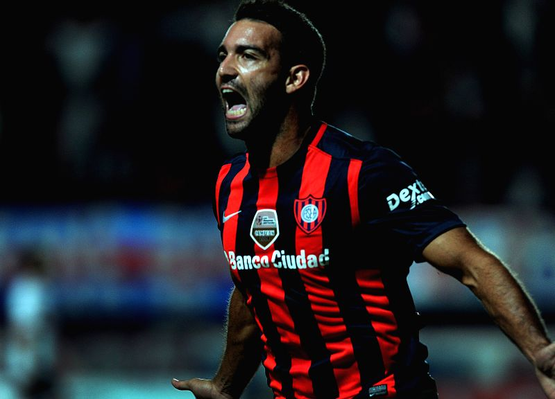 San Lorenzo de Almagro's Martin Cauteruccio of Argentina celebrates after scoring during the corresponding match of the Group 2 of Libertadores Cup 2015 ...