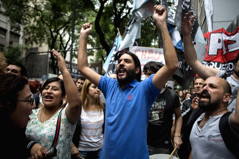 BUENOS AIRES, April 7, 2016 - Workers of Argentina's Ministry of Labor take part in a protest in front of the Ministry of Labor in Buenos Aires, Argentina, April 6, 2016. The workers demanded the ...