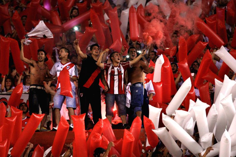 Buenos Aires (Argentina): River Plate's fans react during the semifinal match of the South American Cup, against Boca Juniors, held at Antonio Vespucio Liberti Stadium, in Buenos Aires, Argentina, on