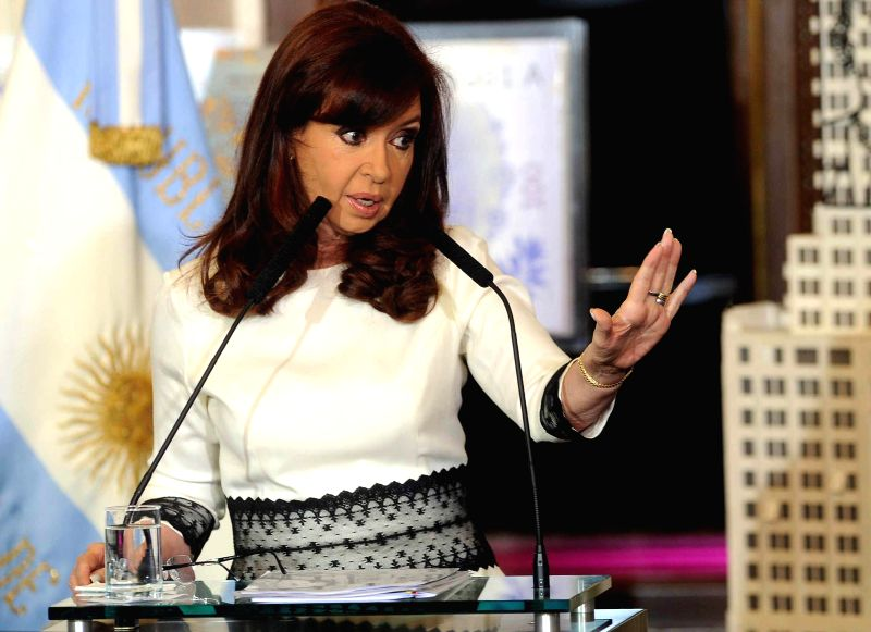 Argentina's President Cristina Fernandez delivers a speech in a ceremony to sign agreements to restructure provincial debts, in Buenos Aires, Argentina, on July
