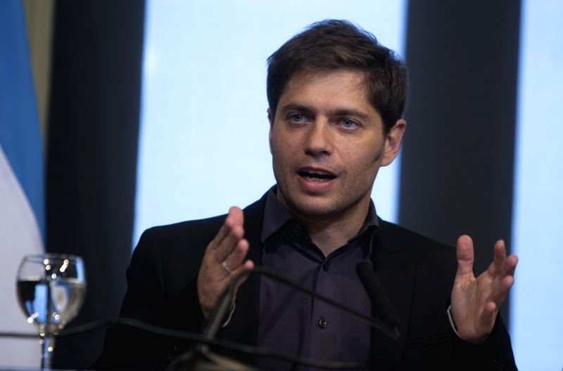 Argentina's Economy Minister Axel Kicillof addresses a press conference in Buenos Aires, capital of Argentina, Aug. 29, 2014.