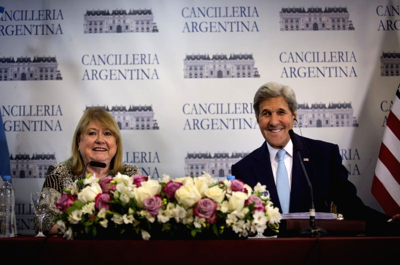 BUENOS AIRES, Aug. 4, 2016 - U.S. Secretary of State John Kerry (R) and Argentinean Foreign Minister Susana Malcorra attend a joint press conference at the Palacio San Martin, the Argentinean Foreign ... - Susana Malcorra