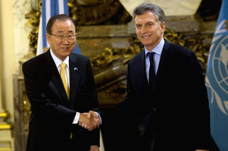 BUENOS AIRES, Aug. 8, 2016 - Argentinean President Mauricio Macri (R) meets with the United Nations Secretary-General Ban Ki-moon (L) at the White Hall of the Pink House, in Buenos Aires, capital of ...