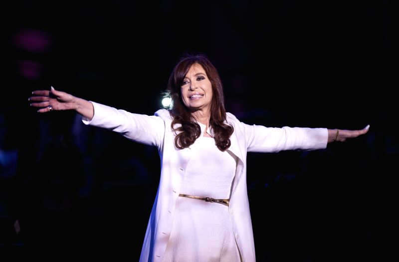 Argentina's President Cristina Fernandez attends an event marking the 31st anniversary of the restoration of democracy, at Plaza de Mayo, in Buenos Aires city,