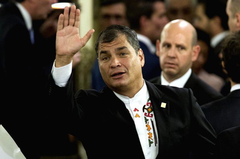 Buenos Aires:  Ecuador's President Rafael Correa attends the swearing-in ceremony of Argentina's President-elect Mauricio Macri in Buenos Aires city, capital of Argentina, on Dec. 10, 2015. Mauricio ...