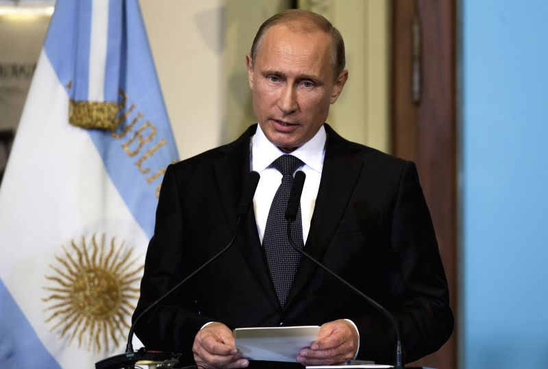 Russian President Vladimir Putin delivers a speech during the signing ceremony of bilateral agreements with her Argentinean counterpart Cristina Fernandez in ..
