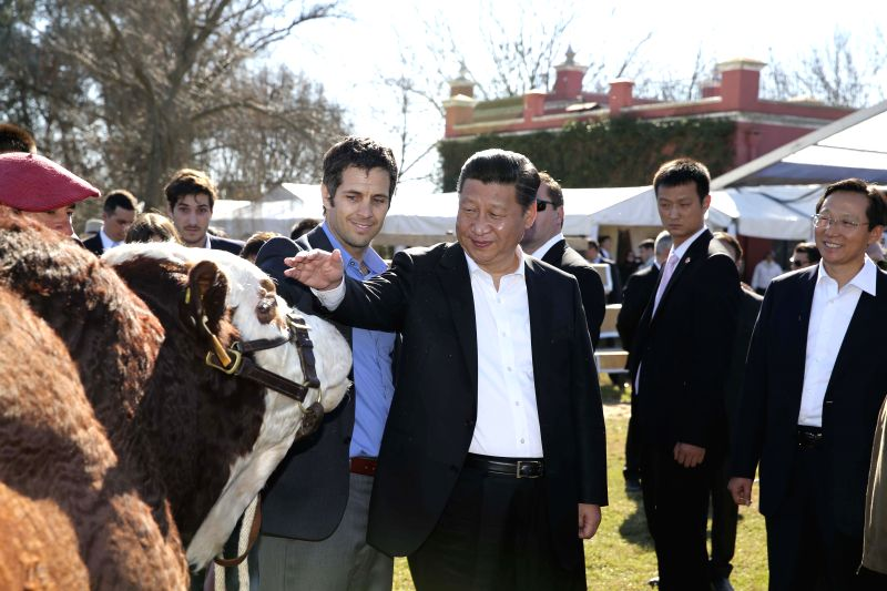 Chinese President Xi Jinping (C) visits the Republic Farm, some 70 km away from Buenos Aires, Argentina, July 19, 2014.