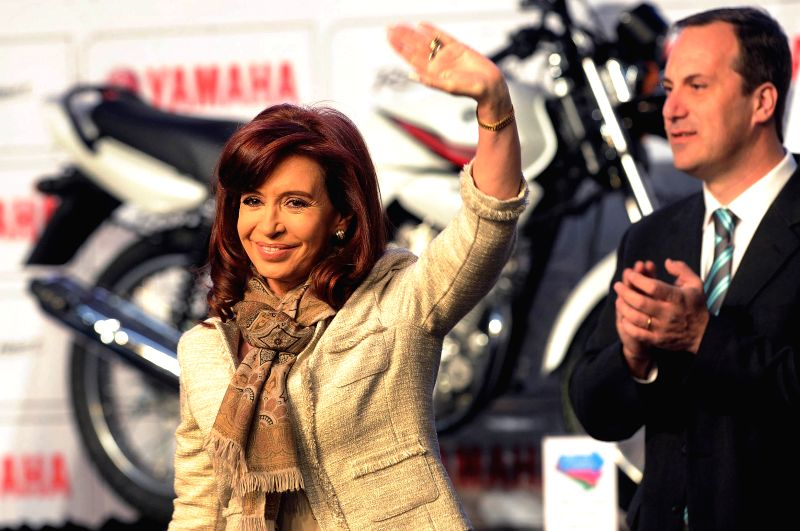 The Argentinean President Cristina Fernandez (L) takes part in the opening ceremony of the new plant of Yamaha for the manufacture of motorcycles in General ...
