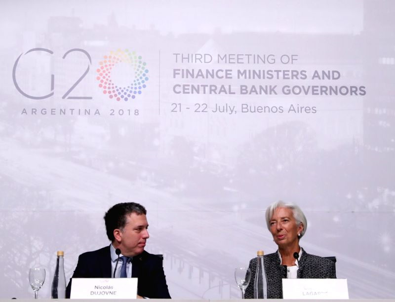 BUENOS AIRES, July 23, 2018 - Managing Director of the International Monetary Fund (IMF) Christine Lagarde (R) and Argentine Treasury Minister Nicolas Dujovne attend a press conference during the ... - Nicolas Dujovne