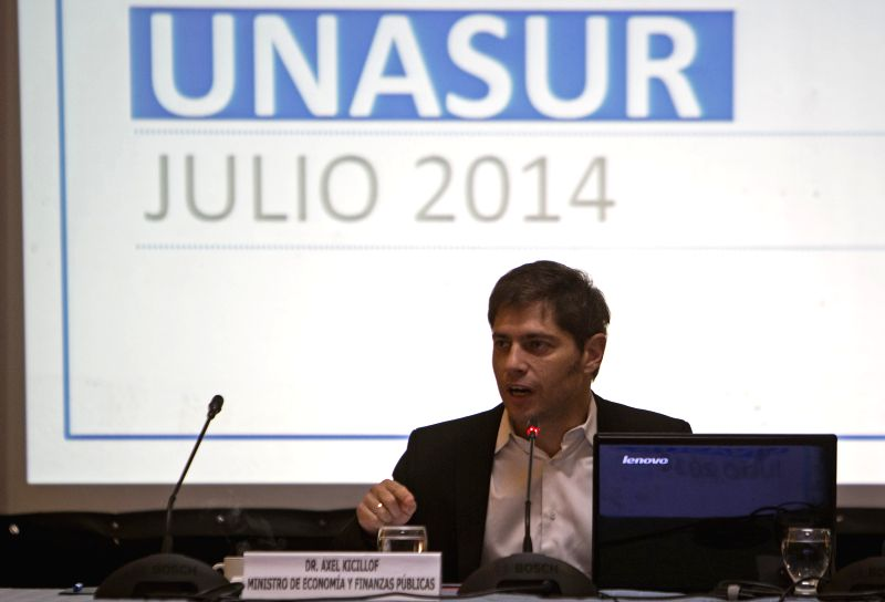 Argentine Minister of Economy Axel Kicillof delivers a speech during the South American Economy and Finance Council meeting of the Union of South American ...