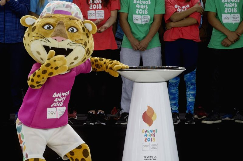 BUENOS AIRES, July 27, 2018 - The official mascot Pandi poses during the reception ceremony of the flame for the Buenos Aires 2018 Summer Youth Olympics in Buenos Aires, capital of Argentina, on July ...