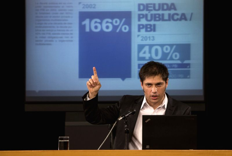 Argentinean Minister of Economy Axel Kicillof attends a press conference at the Palace of Finance in the city of Buenos Aires, capital of Argentina, on June ...