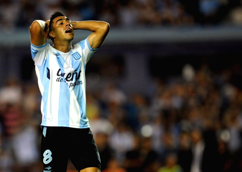 Racing Club's Washington Camacho of Argentina reacts during the match of Copa Libertadores against Sporting Cristal of Peru at the Copa Libertadores in the ...