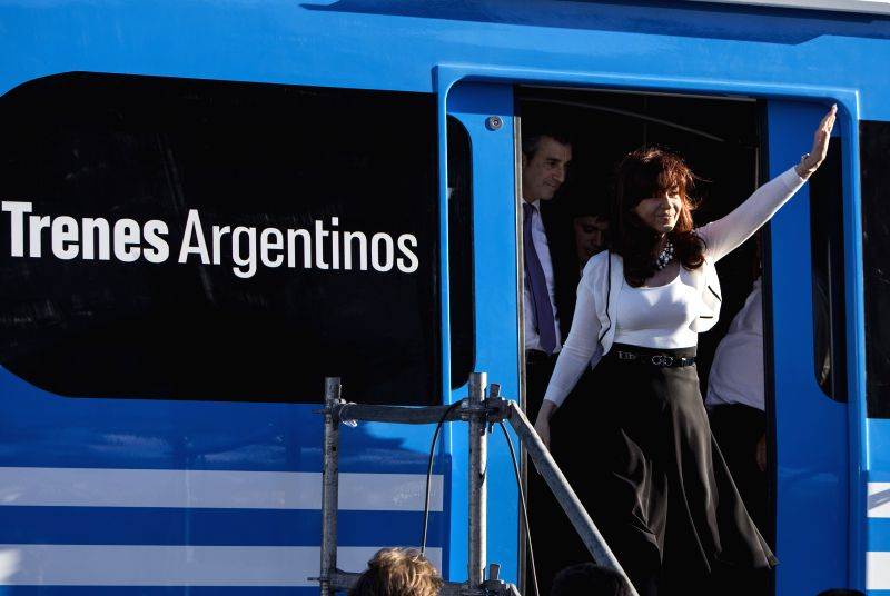 Argentine President Cristina Fernandez attends the handover ceremony of the first batch of Chinese-built trains in Buenos Aires March 5, 2015. (Xinhua/Martin ...