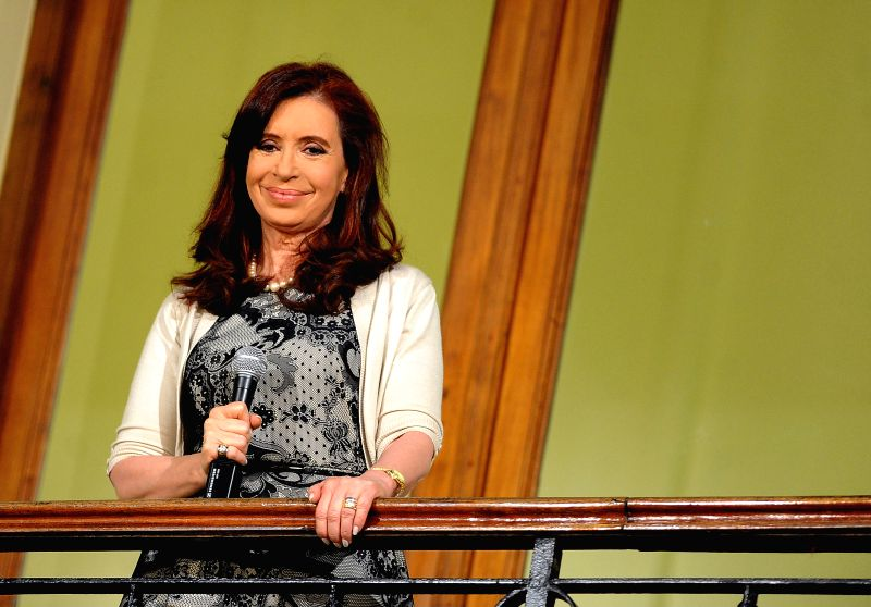 Argentina's President Cristina Fernandez gestures as she gives a speech at the presidential palace in Buenos Aires, capital of Argentina, on May 14, 2014. ...
