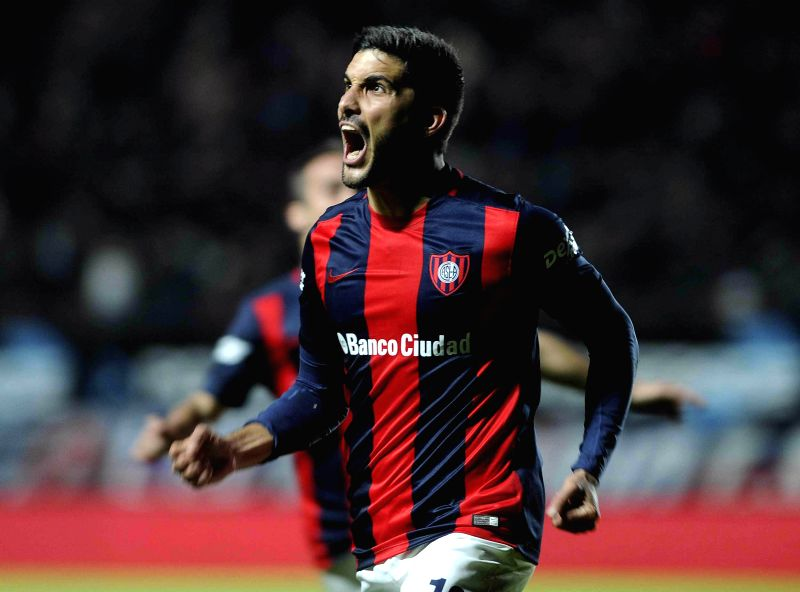 BUENOS AIRES, May 8, 2016 - San Lorenzo's Nicolas Blandi celebrates after scoring in the match against River Plate of the First Division of Argentina at Pedro Bidegain Stadium in Buenos Aires, ...