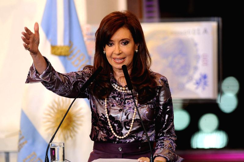 Argentina's President Cristina Fernandez delivers a speech during an event at the Government House, in Buenos Aires, Argentina, on Sept. 3, 2014. During the ...