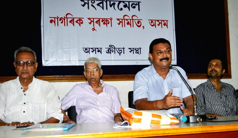Build Guwahati Save Guwahati President Dhiran Boruah and others during a press conference regarding a joint initiative taken up by Nagarik Surakhya Samity, Assam and Assam Sports Association to clean