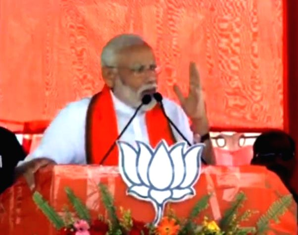 Buniadpur (West Bengal): Prime Minister Narendra Modi addresses a public rally in Buniadpur, West Bengal, on April 20, 2019.
