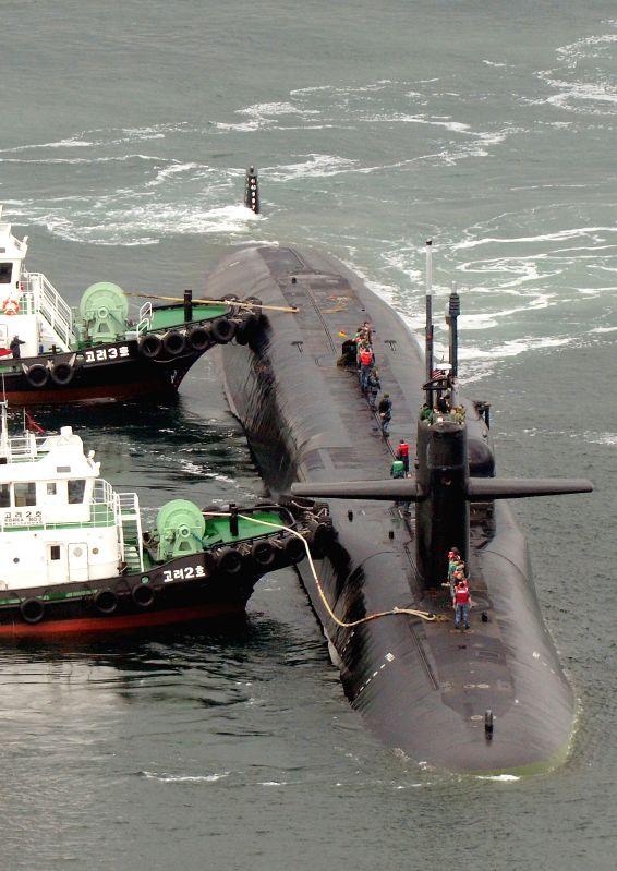 BUSAN, April 25, 2017 - The USS Michigan nuclear-powered submarine arrives at port of Busan, South Korea, April 25, 2017.