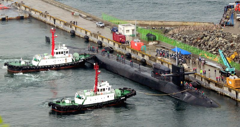 BUSAN, April 25, 2017 - The USS Michigan nuclear-powered submarine arrives at port of Busan, South Korea, April 25, 2017. (Xinhua/NEWSIS)