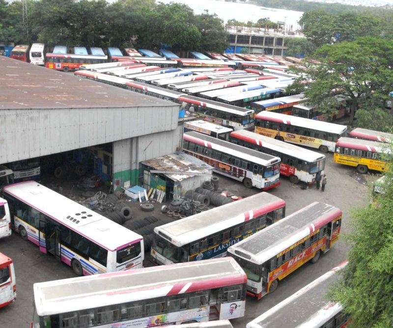 Buses remain parked at a depot during a strike called by All India Coordination Committee of Road Transport Workers' Organisations against Motor Vehicles (Amendment) Bill, in Patna, on Aug ...