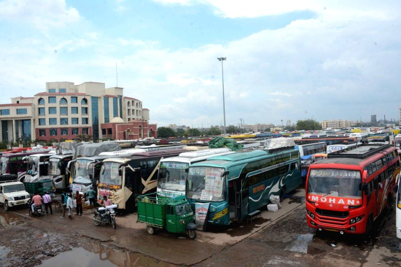 Buses remain parked at a Mithapur Bus Stand during a strike called by All India Coordination Committee of Road Transport Workers' Organisations against Motor Vehicles (Amendment) Bill in Patna ...