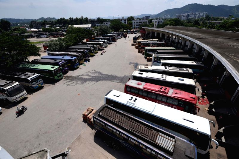Buses remain parked in a Guwahati depot on July 20, 2018. Over 90 lakh trucks and around 50 lakh buses, tempos and tourist vehicles went off the roads on Friday as their owners began an ...