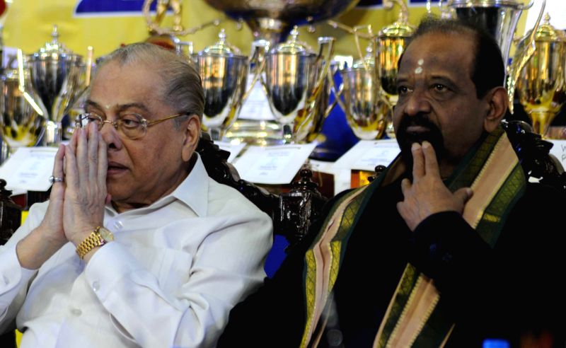 CAB president Jagmohon Dalmia and former cricketer Gundappa R. Viswanath (L to R) during CAB annual prize distribution ceremony in Kolkata on July 26, 2014.
