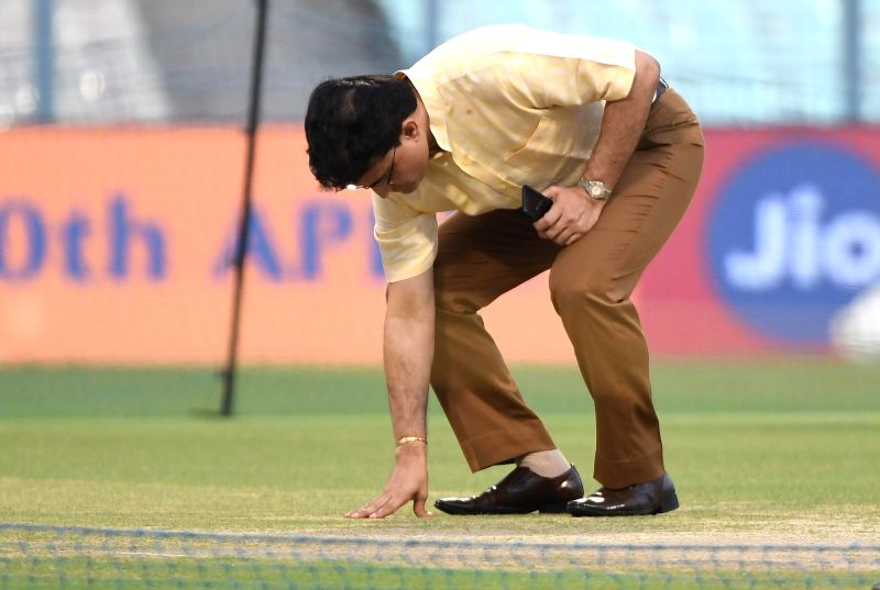 CAB President Sourav Ganguly inspects the pitch at Eden Gardens in Kolkata on April 27, 2017. - Sourav Ganguly