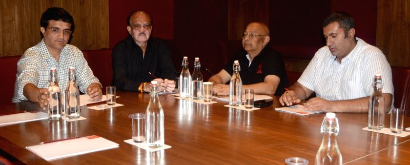 CAB President Sourav Ganguly with BCCI acting president C.K. Khanna, acting secretary Amitabh Chaudhury and acting treasurer Anirudh Chaudhury during a meeting in Kolkata on July 22, 2018. - Sourav Ganguly, K. Khanna, Amitabh Chaudhury and Anirudh Chaudhury