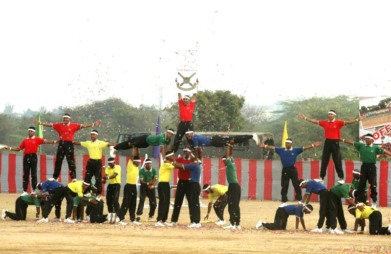 Cadets display perform aerobatics at the Combined display - a prelude to the Passing Out Parade - organised at Officers Training Academy (OTA), in Chennai on March 13, 2015.