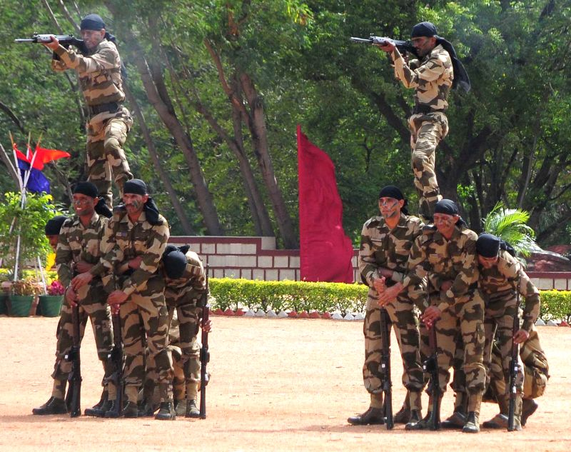 Cadets display their skills during the Passing Out Parade of 28th batch of assistant commandant(PROB),8th batch Asst.Commandant(DE),40th batch SI/EXE and 1st batch SI of SVP NPA at National ...