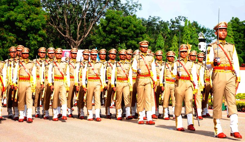 Cadets during the Passing Out Parade of 28th batch of assistant commandant(PROB),8th batch Asst.Commandant(DE),40th batch SI/EXE and 1st batch SI of SVP NPA at National Industrial Security Academy ...