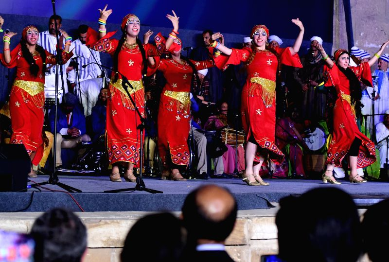 "CAIRO, April 20, 2017 - Artists perform at the opening ceremony of the 5th International Festival for Drums and Traditional Arts in Cairo, Egypt, April 20, 2017. Raising the slogan ""Drums ..."